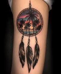 dreamcatcher tattoo upper arm awesome beach view in dreamcatcher tattoo on arm