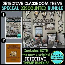 Classroom Theme Decor Detective Mystery Theme Decor 2 Editable Clutter Free