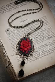 red rose necklace images Victorian cameo necklace in black and red roses jpg
