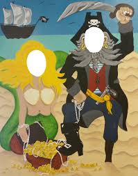 mermaid and pirate cut out is the perfect prop for halloween and