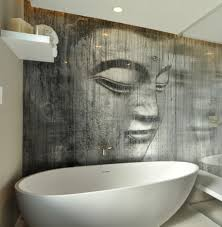 buddha wallpaper in a bathroom it u0027s sealed behind a glass panel