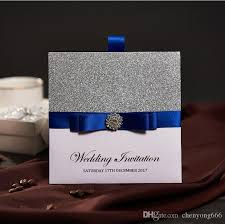 wedding invitations blue traditional pocket wedding invitations with blue ribbon rhinestone