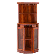 Glass Door Bar Cabinet Glass Door Solid Wood Corner Wine Bar Cabinet