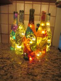 decorated lighted bottle wine bottle light wine gift wine lover