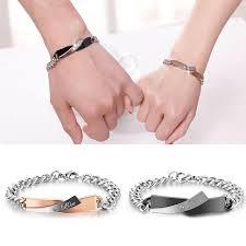 Personalized Bangles Online Shop Lnrrabc Two Colors Couple Bracelets Stainless Steel