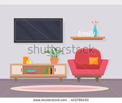 home interior vector living room with chair and television cozy home interior flat