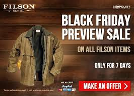 trijicon black friday filson outdoor work wear black friday preview special sale