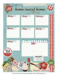 free printable meal planner home sweet home vintage