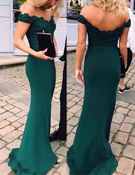 off shoulder emerald green prom dress party dresses mermaid