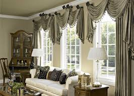 window treatment living room brown colors sofas gray color sofas