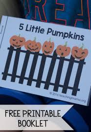 Old Halloween Poems Five Little Pumpkins Free Rhyme Booklet