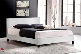 mirabel white faux leather full double platform bed true