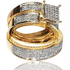 yellow gold wedding sets yellow gold trio wedding set mens women rings real 1