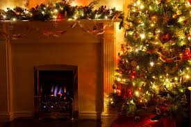 christmas tree with fireplace free stock photo public domain