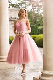tea length a line pink tulle bridesmaid dress with lace pink