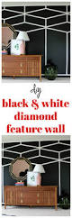diy black and white diamond feature wall