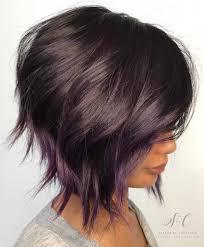 one side stack sassy bob bllack hair 20 purple balayage ideas from subtle to vibrant purple balayage