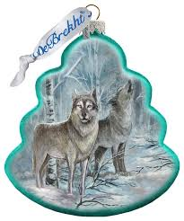 hand painted glass scenic ornament wolves tree traditional