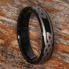 Viking Wedding Rings by Black Celtic Tungsten Rings Come With An Engraved Knot Work Design