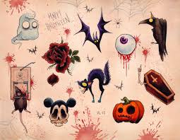 adorable halloween background cute style halloween tattoo art halloween sheet pretty in ink