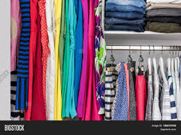 Clothes Closet Fashion Clothes In Walk In Clothing Closet Or Store Display For