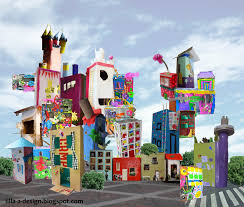 cityscape sculpture project via lilla a rainbow city the