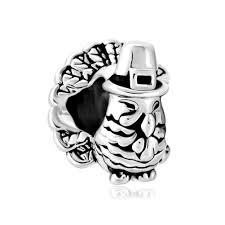 silver silver tone thanksgiving day turkey lucky charm bracelet