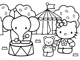 and print hello kitty friends elephant circus coloring pages 99034