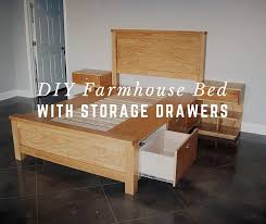 Farmhouse Bed Frame Plans Diy Farmhouse Bed With Storage Drawers Shtf Prepping