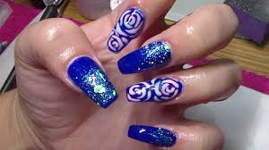 acrylic nails sculpted coffin shape blue nail design youtube