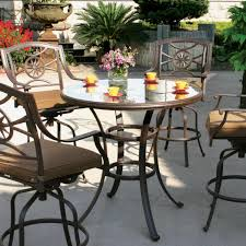Glass Top Patio Table And Chairs Darlee Ten Star 5 Piece Cast Aluminum Patio Bar Set With Swivel