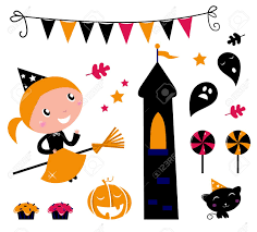 halloween graphic art cute little halloween witch various items for celebration vector