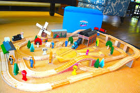 carousel train table set thomas the tank rare 100 piece set wooden railway toy train by