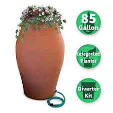 rescue 85 gal terra cotta waterurn decorative urn rain barrel kit