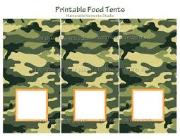 printable food tent cards camo army party ideas pinterest