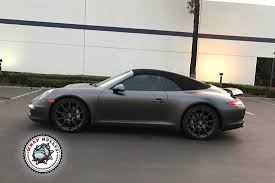 grey porsche 911 porsche 911 wrapped in 3m satin dark gray car wrap wrap bullys