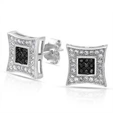 mens earrings black white micro pave cz mens kite stud earrings 925 silver 10mm