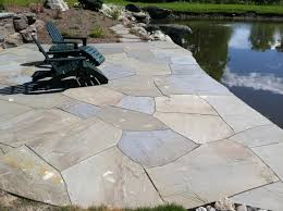 Irregular Stone Patio Custom Bluestone Vermont Landscaping Design Installation