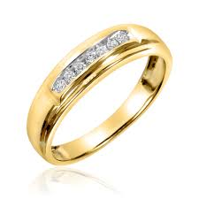14k gold mens wedding band 1 2 ct t w diamond trio matching wedding ring set 14k yellow gold