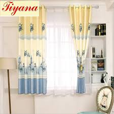 rustic cotton printed short curtains curtain kid bedroom living