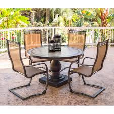 Spring Chairs Patio Furniture Monaco 5 Piece Outdoor Dining Set With C Spring Chairs And Tile