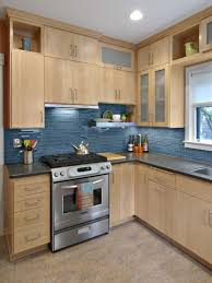 blue maple cabinets kitchen birch cabinets with blue glass tile back splash home