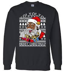 santa sweater yo yo yo ho ho ho black santa claus sweater