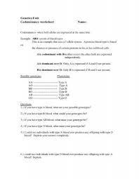 genetics unit codominance worksheet name