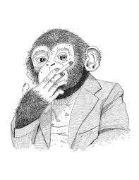 smoking chimp sketch monkey ape chimpanzee cigarette by dwknyphoto