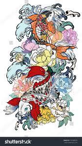 hand drawn koi fish flower tattoo stock vector 710189578