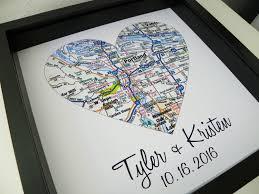 wedding gift map destination wedding gift city map heart framed print