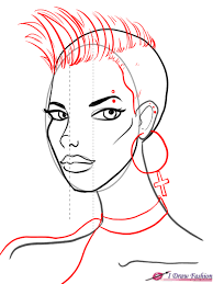 draw a 3 4 view face i draw fashion