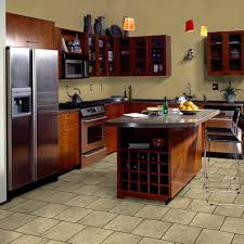 kitchen floor ideas with thin brick tile and solid wood kitchen