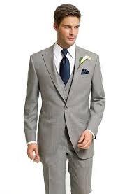 Suit Light Grey Groom Tuxedos Peaked Lapel Side Vent Groomsmen Men